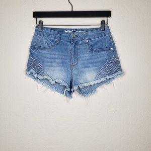 Mossimo Aztec Embroidered Raw Hem Short Shorts